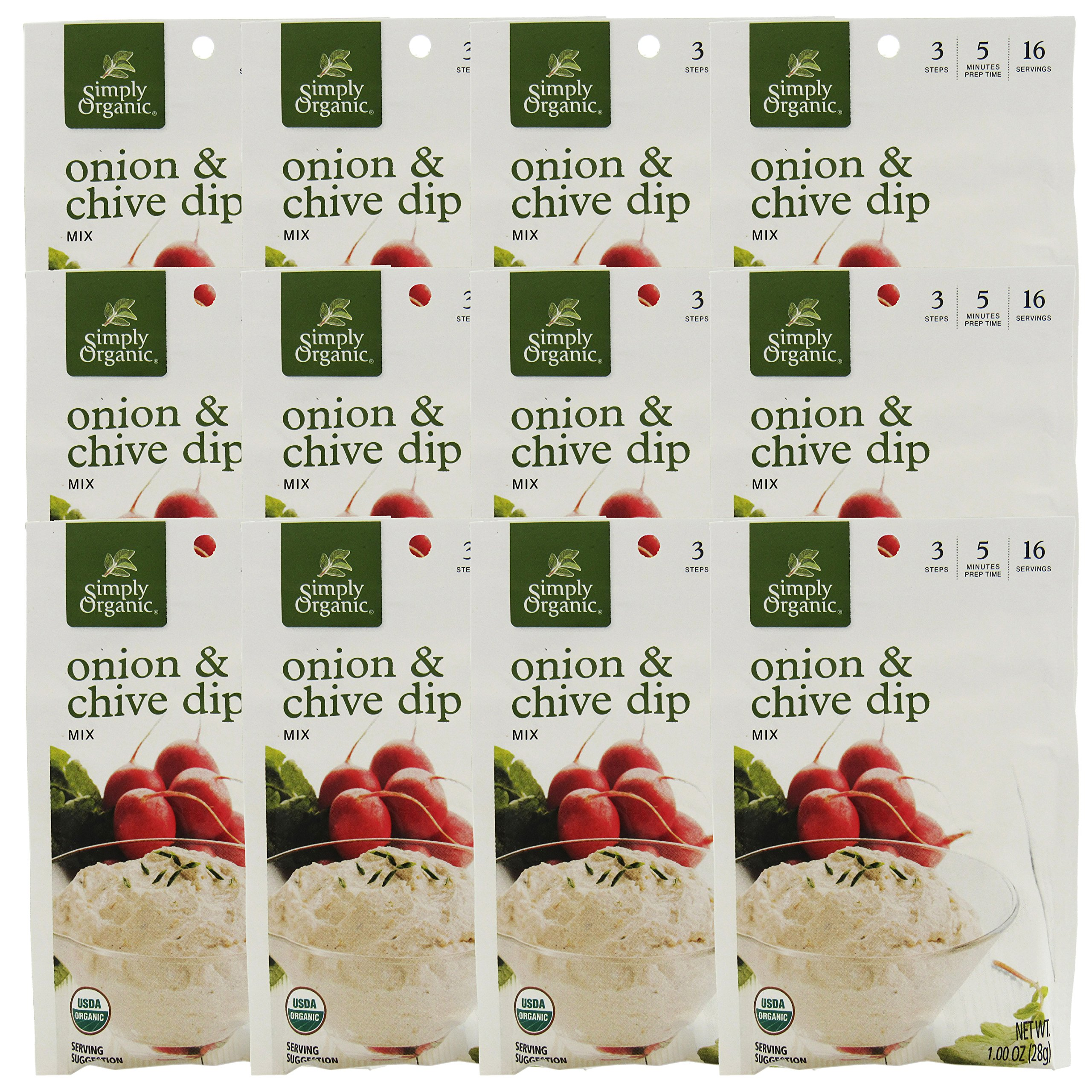 Simply Organic Dip Mix,Og2,Onion&Chive 1 Oz (Pack Of 12)
