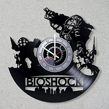 DJ Vinyl Record Wall Clock BioShock Infinite 2K Game Rapture Video Game Gift Gamer decor unique gift ideas for friends him her boys girls Fans Music World Art Design