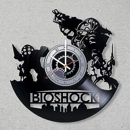 DJ Vinyl Record Wall Clock BioShock Infinite 2K Game Rapture Video Game  Gift Gamer decor unique gift ideas for friends him her boys girls Fans  Music