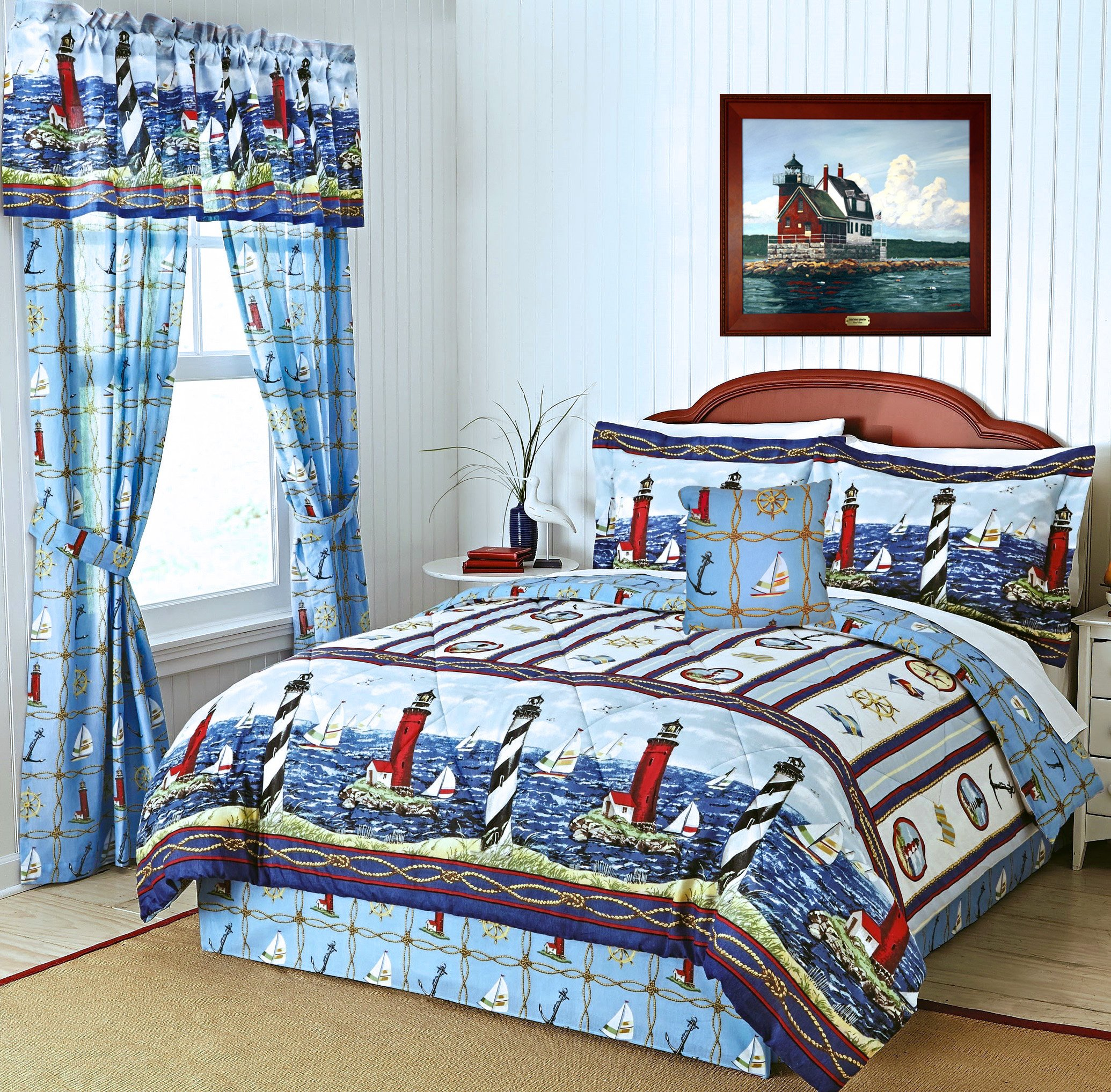 NANTUCKET NAUTICAL LIGHTHOUSE & SAILBOATS Blue & White Comforter Set + PILLOW! (5pc KING SIZE) - (Window Treatments NOT INCLUDED)