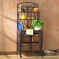 Overstock.com deals on Copper Grove Stoyoma Iron and Wicker Bakers Rack