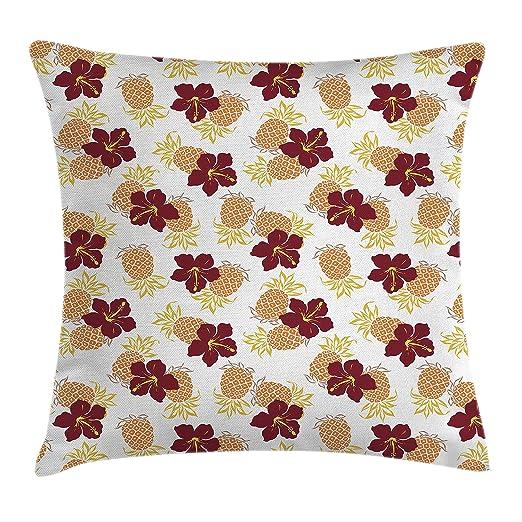 Piña manta almohada Funda de cojín por Ambesonne, hibisco y ...