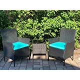 3 Pieces Patio Furniture Sets - PE Rattan Wicker Patio Set with 2 Cushioned Chairs & 2 Blue Cushion &1 Glass Top Patio Table(