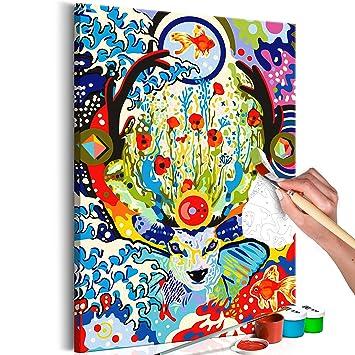 Murando Malen Nach Zahlen Abstrakt Hirsch 40x60cm Malset Diy N A