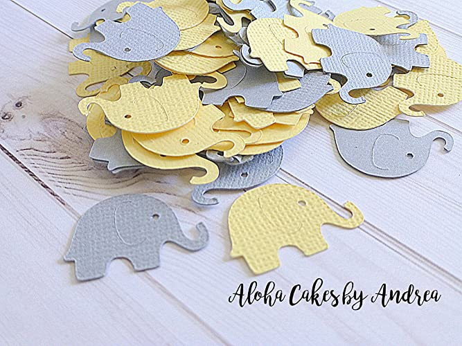Elephant Confetti, Yellow And Gray, Baby Shower Decorations, Gender  Neutral, Little Peanut