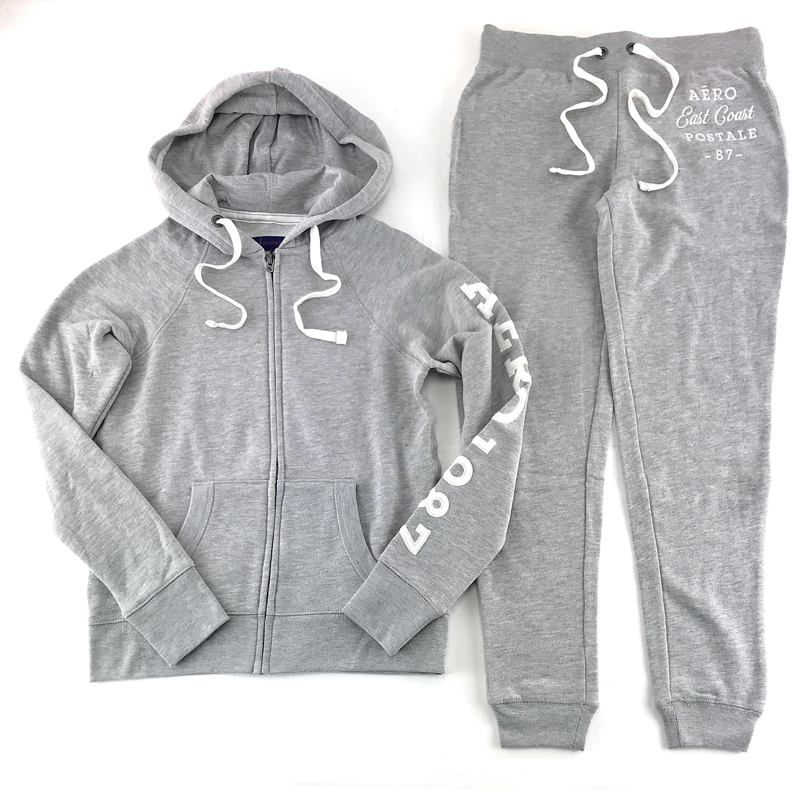 Aeropostale Women's Hoodie and Sweat Pants Set Light Gray XX-Large