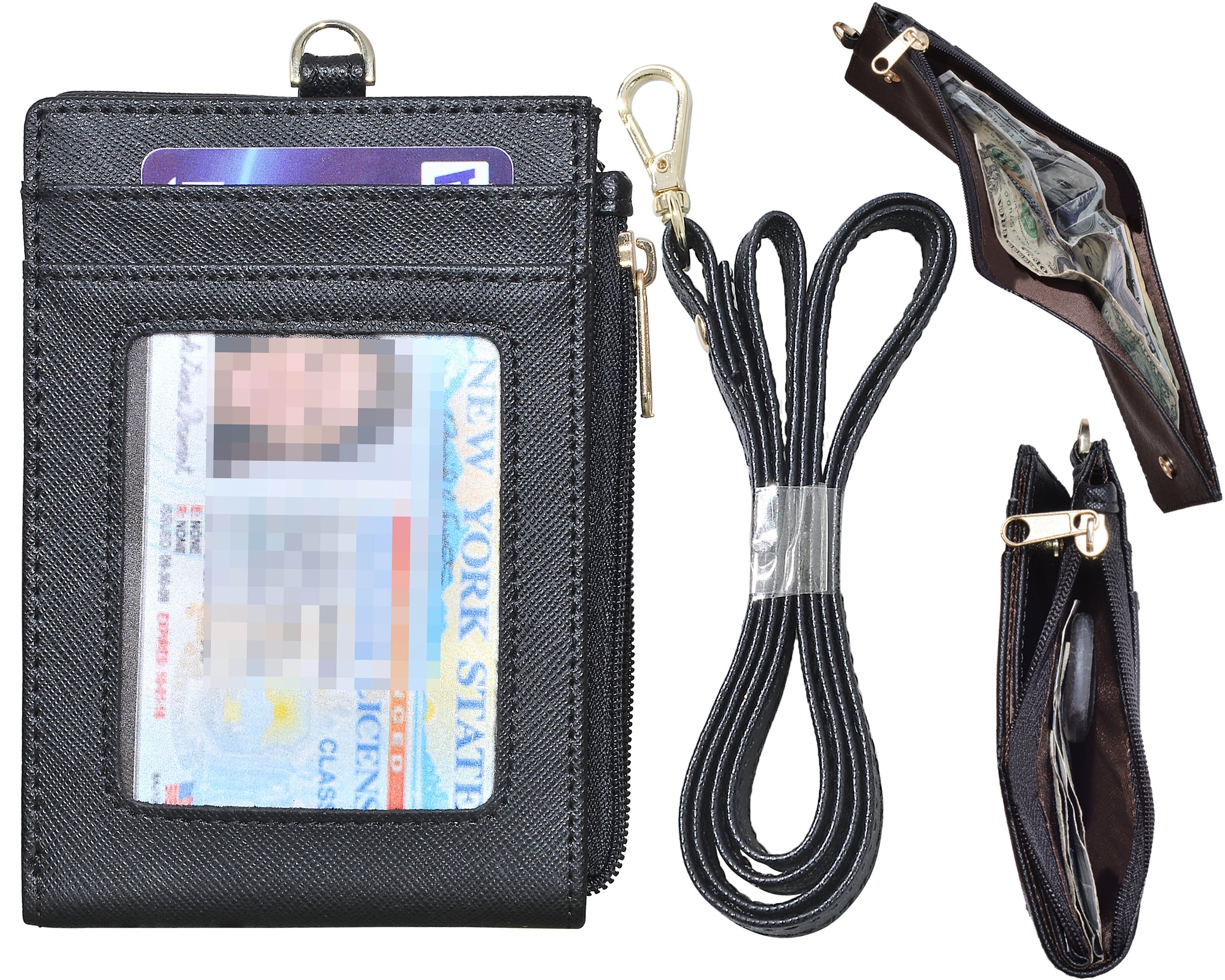 Beurlike Bifold ID Badge Holder Case Leather Credit Card Wallet Neck Lanyard (Black)