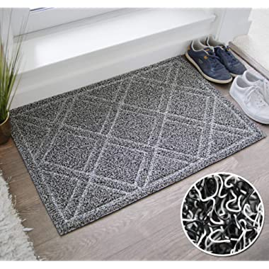 BrigHaus Large Outdoor Indoor Door Mat | Non-Slip Heavy Duty Front Welcome Doormat Rug, Outside Patio, Inside Entry Way, Catches Dirt Dust Snow & Mud - Black/White (24  x 35 )