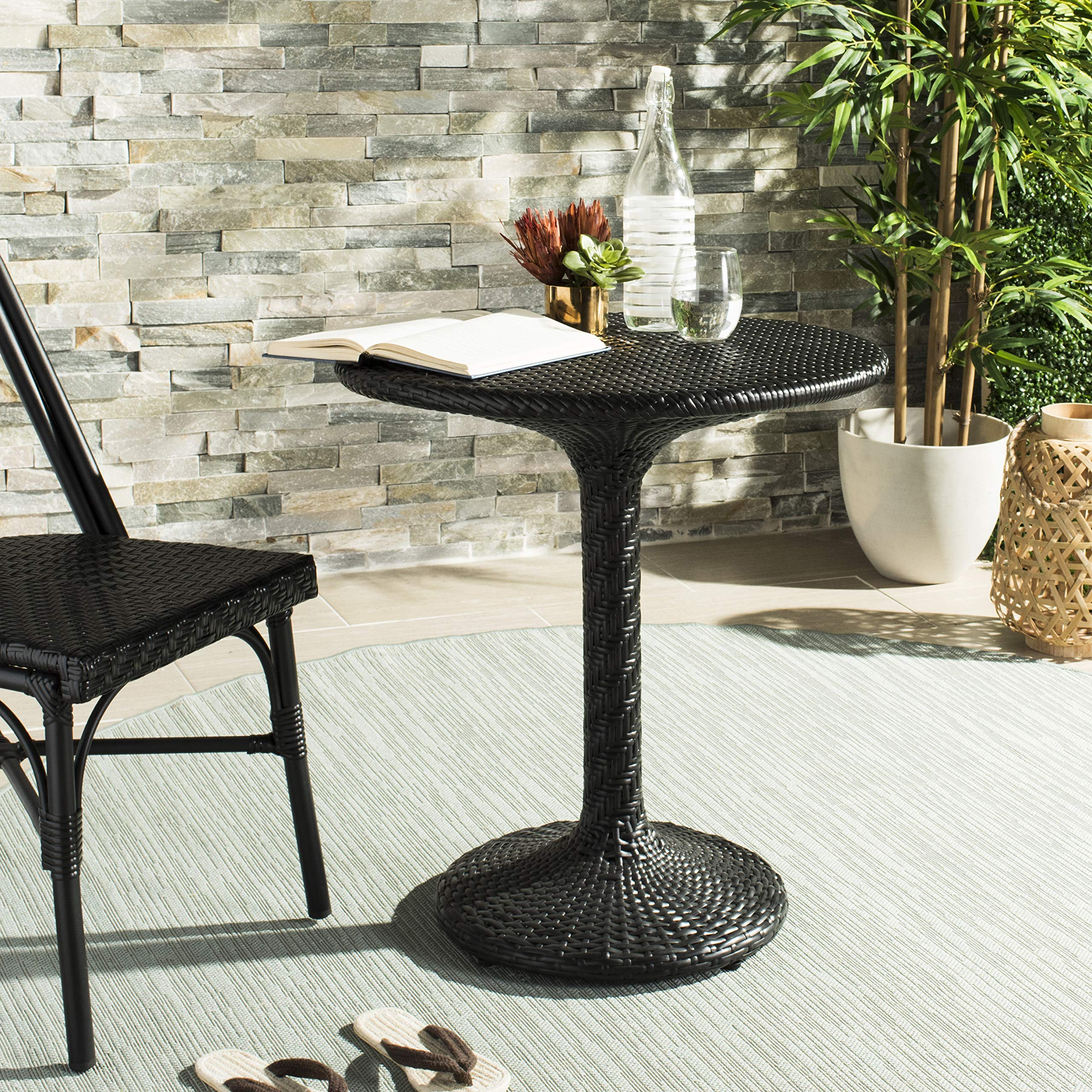 Safavieh PAT4017A Outdoor Collection Bilson Black Rattan Bistro Table