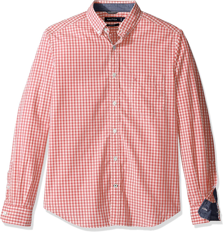 Nautica Mens Long Sleeve Gingham Plaid Button Down Shirt