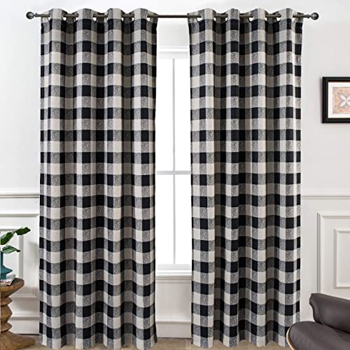 DriftAway Buffalo Checker Pattern Linen Blend Lined Thermal Insulated Blackout and Room Darkening Grommet Window Curtains Printed Plaid 2 Panels 52 Inch