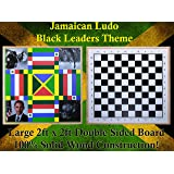 Jamaican Ludo (Black Leaders Theme) + Checkers | 2ft x 2ft Double Sided Game Board + Game Pieces & Dice | Family Game Night