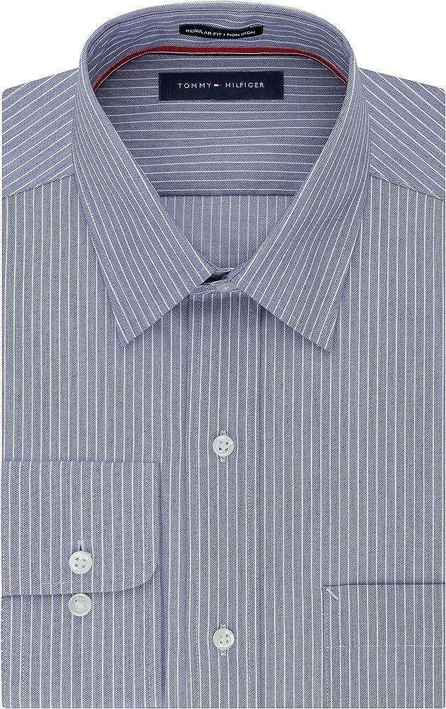 Tommy Hilfiger - Camisa de vestir para hombre, ajuste regular, no necesita planchado, diseño de rayas - Azul - 38.1 cm cuello/81.28/83.82 cm manga (M): Amazon.es: Ropa y accesorios