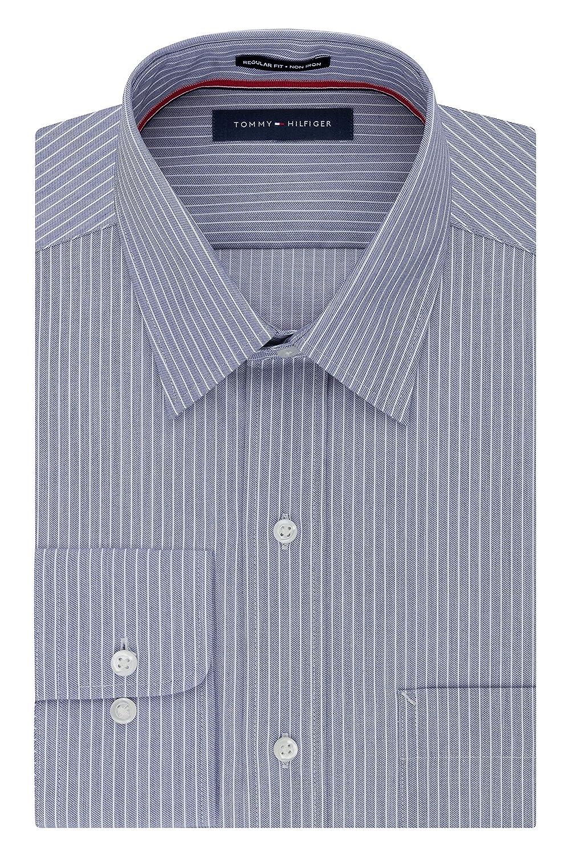 Tommy Hilfiger Mens Non Iron Regular Fit Banker Stripe Point Collar Dress Shirt 24N0750