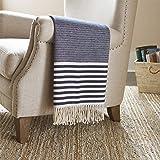 Amazon Brand – Stone & Beam Contemporary Stripe Throw Blanket - 60 x 50 Inch, Navy