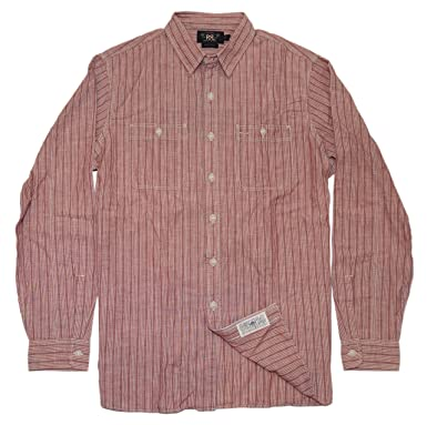 6a8510aa80c8 Polo Ralph Lauren Double RL RRL Mens Casual Button Down Stripe Shirt Red  Blue (Large