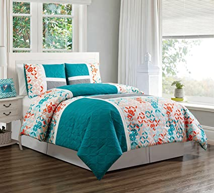 3 Piece Turquoise Blue/Orange/Grey Patchwork Bed in A Bag Down Alternative  Comforter Set King Size Bedding. Perfect for Any Bed Room or Guest Room