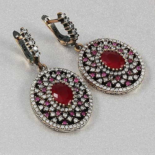 Turkish Handmade Jewelry 925 Sterling Silver Ruby Stone Ladies/' Earrings