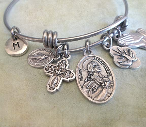 e214ad2038f Image Unavailable. Image not available for. Color: St. Mary Magdalene  Bangle Bracelet, Patron Saint ...