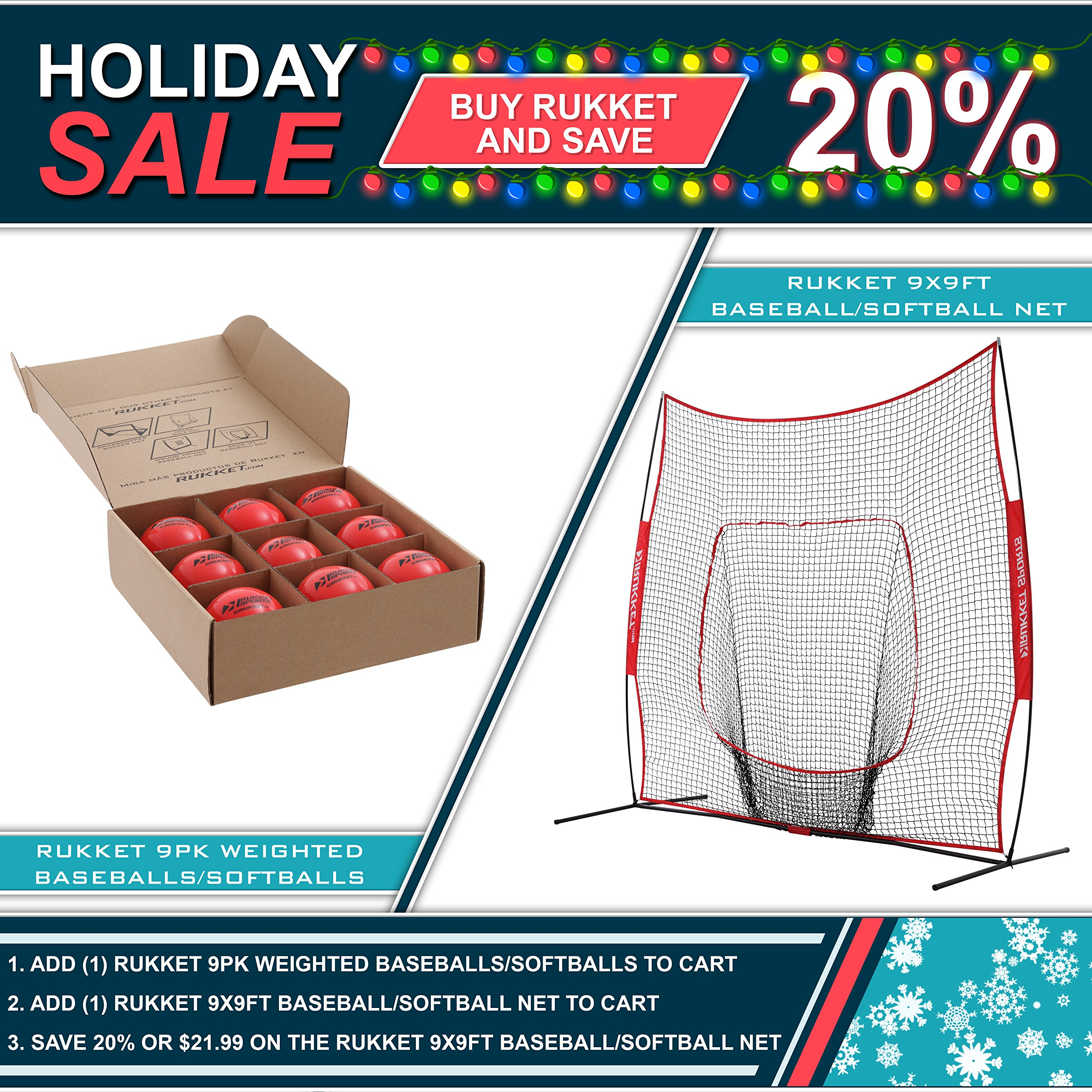 Rukket 9x9 Baseball / Softball Net   Practice Hitting, Pitching, Batting and Catching   Backstop Screen Equipment Training Aids   Includes Carry Bag