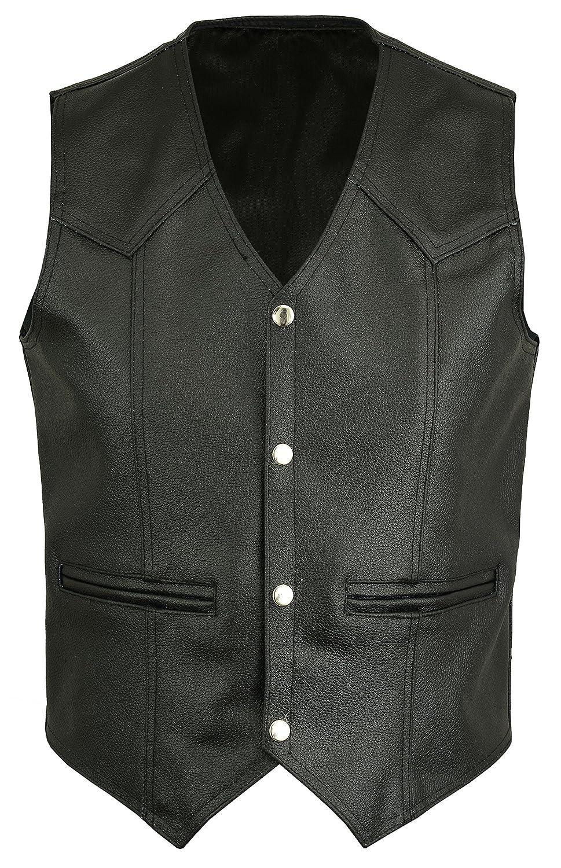 Mens Black Leather Waistcoat Motorbike//Motorcycle//Biker Rd-602 Vest