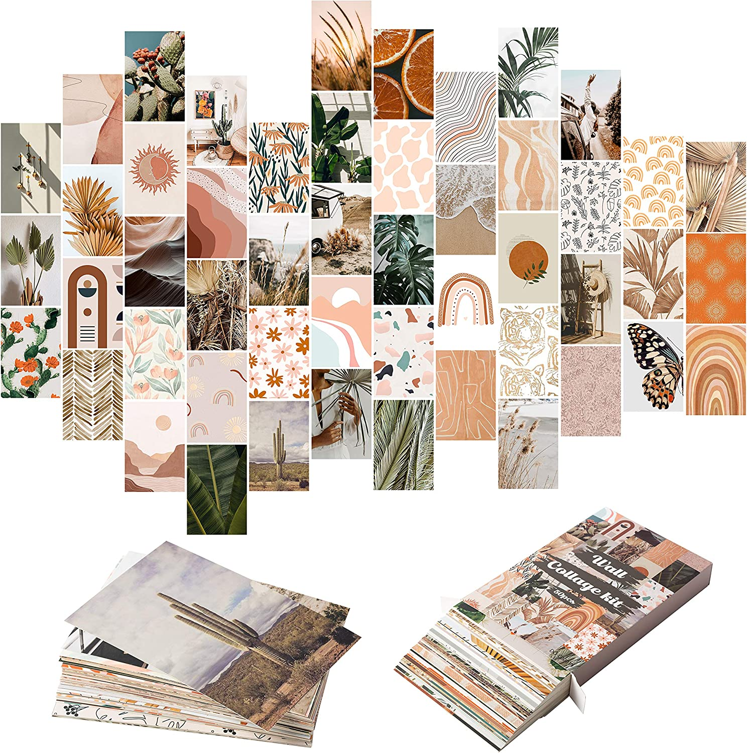 YINGENIVA 50PCS Boho Aesthetic Pictures Wall Collage Kit, Peach Teal Photo Collection Collage Dorm Decor for Girl Teens and Women, Orange Boho Wall Prints Kit, Small Posters for Room Bedroom Aesthetic
