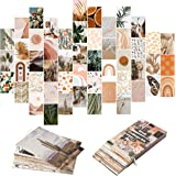 YINGENIVA 50PCS Boho Aesthetic Pictures Wall Collage Kit, Peach Teal Photo Collection Collage Dorm Decor for Girl Teens and W