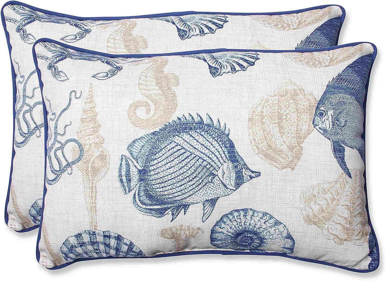 """Pillow Perfect Outdoor/Indoor Sealife Marine Oversized Lumbar Pillows, 24.5"""" x 16.5"""", Blue, 2 Pack"""