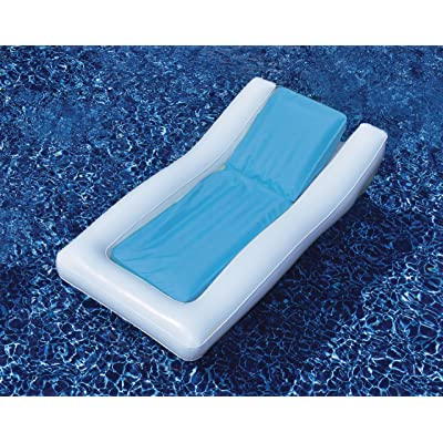 Inflatable Blue and White Chamber System Swimming Pool Lounger, 66-Inch: Sports & Outdoors