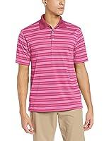 PGA TOUR Men's Golf Air Flux Short Sleeve Striped Polo Shirt
