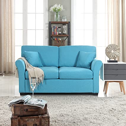. DIVANO ROMA FURNITURE Classic and Traditional Ultra Comfortable Linen  Fabric Loveseat   Living Room Fabric Couch  Blue