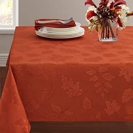 "Benson Mills Harvest Legacy Damask Tablecloth (Rust, 60"" x 120"" Rectangular) best Thanksgiving tablecloths"
