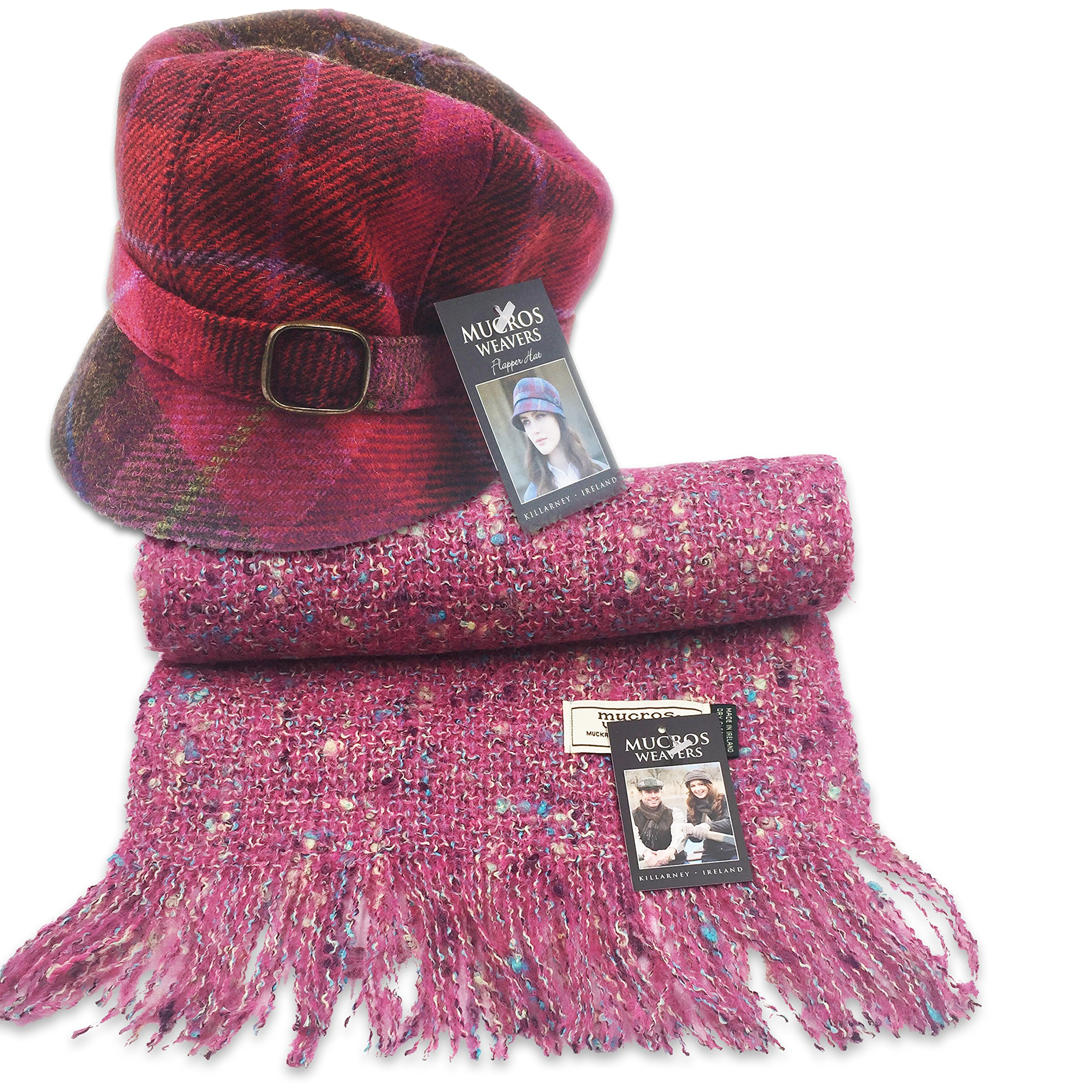Mucros Flapper Hat (Red ad Pink) and Alpaca Scarf Set (Pink)