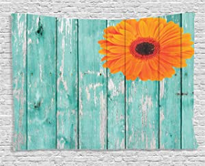 Ambesonne Rustic Barn Decor Collection, Daisy on Vintage Wood Barn Fence Picture Fresh Gerbera Flower Grunge Artsy Print, Bedroom Living Room Dorm Wall Hanging Tapestry, 60 X 40 Inches, Mint Orange