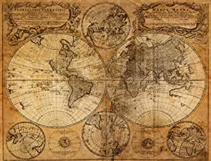 """10.5-Feet wide by 8-Feet high. Prepasted wallpaper full wall size mural from a photo of: Old World Map. Easy to hang remove and reuse(hang again) If U do as in our video. 126""""W by 96""""H"""