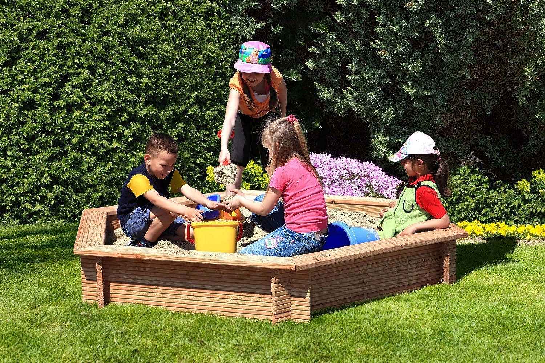 Gartenpirat Sandkasten 6 Eckig Aus Holz Lärche Unbehandelt ø 230 Cm