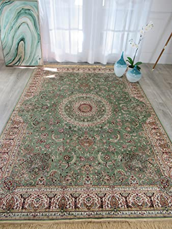 Amazon Com Stunning Green Silk Rug Persian Area Rugs Living Room