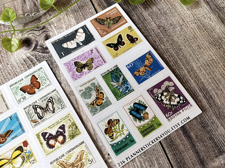 Bullet Journal Stickers Stationary Set 236 Deko Aufkleber Thema Old Vintage Briefmarken Schmetterlinge handgezeichnet