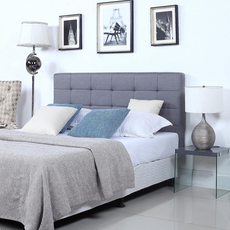 Bon Amazon.com: DIVANO ROMA FURNITURE Classic Deluxe Tufted Linen Grey Fabric  Headboard (Full): Kitchen U0026 Dining