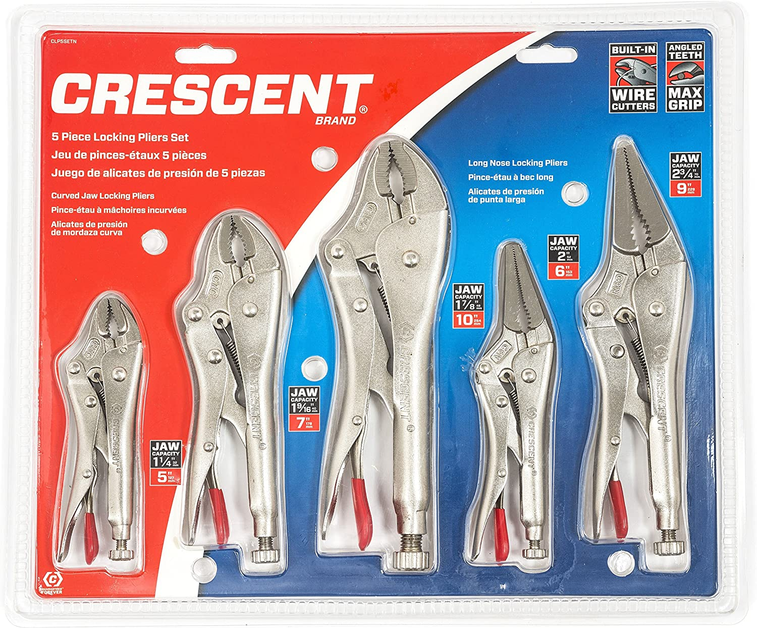 Crescent Five-Piece Locking Pliers Set with Wire Cutter