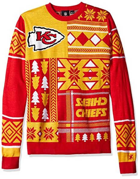 01d28e87 Kansas City Chiefs Patches Ugly Crew Neck Sweater Double Extra Large