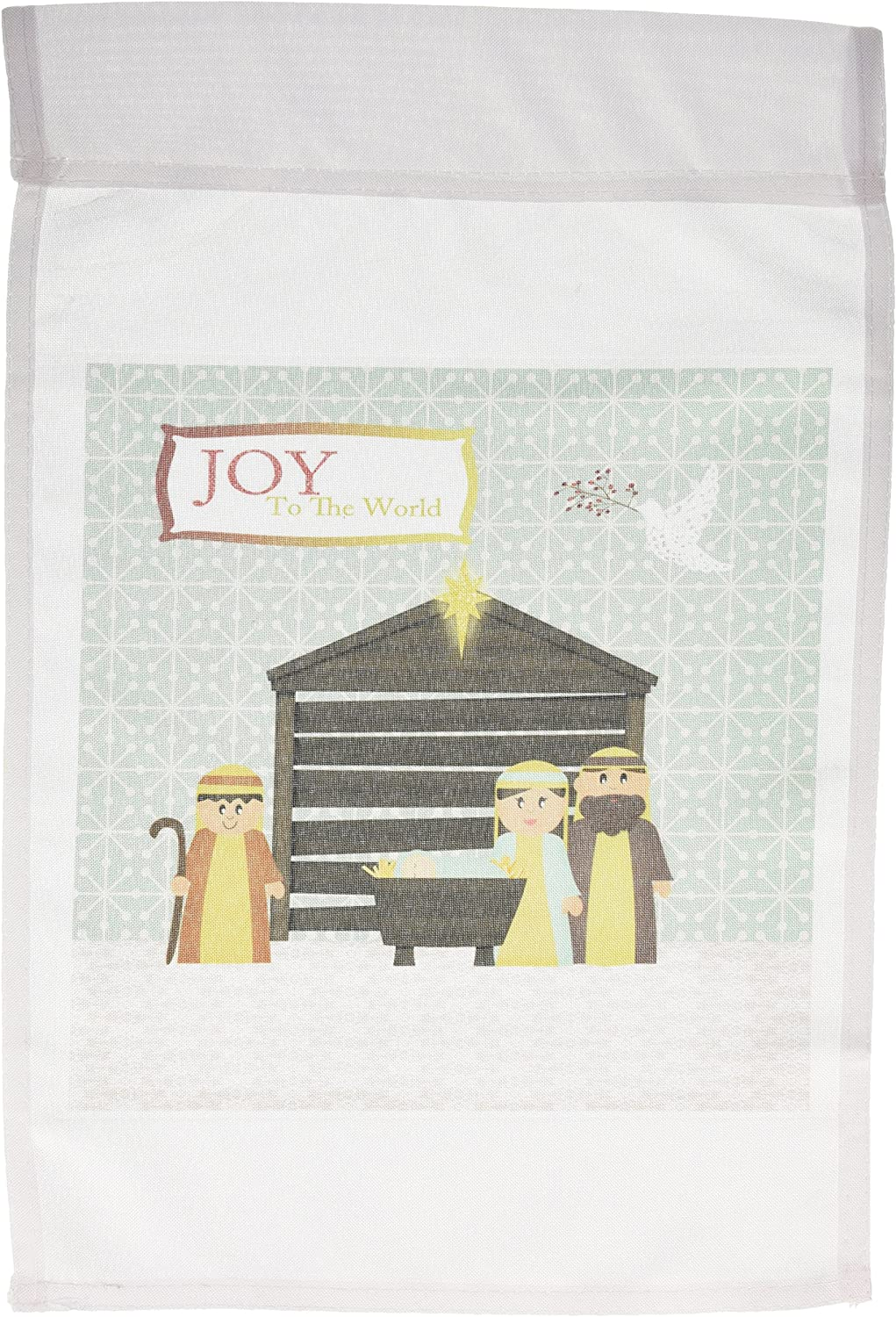 3dRose fl_160049_1 Nativity Scene, Mary, Joseph, Baby Jesus, Manger, Shepherd and Dove, Joy to The World Garden Flag, 12 by 18-Inch