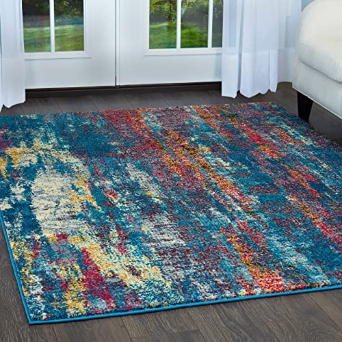 Home Dynamix Serena Vigo Contemporary Modern Abstract Area Rug 7'9″x10'2″ Blue Rust