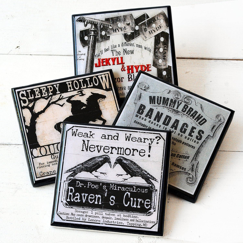 Funny, Gothic Halloween Literary Drink Coaster Set