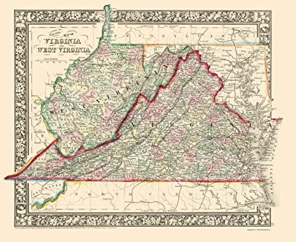 Amazon.com: Old State Map - Virginia, West Virginia Counties ...