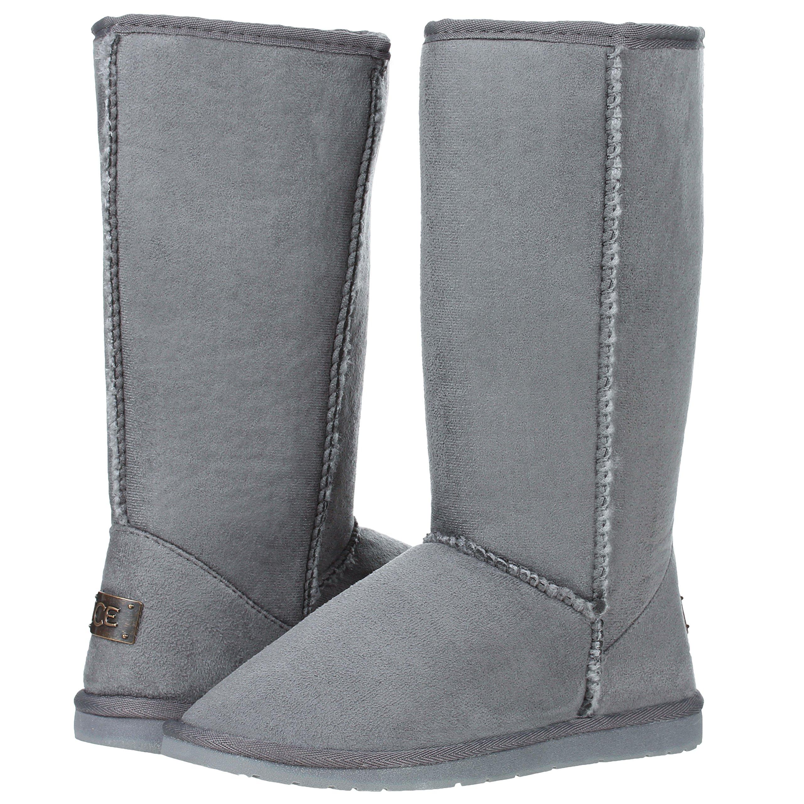 Women's Mid Calf Classic Tall Winter Snow Fur Boots (8, Gray)