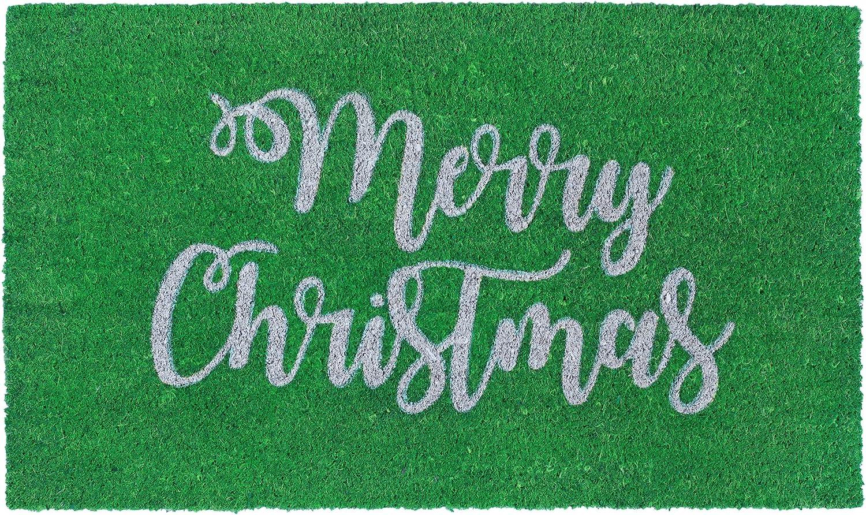 """Liora Manne Natura Merry Christmas Green Outdoor Welcome Coir Door Mat, 18""""x30"""""""