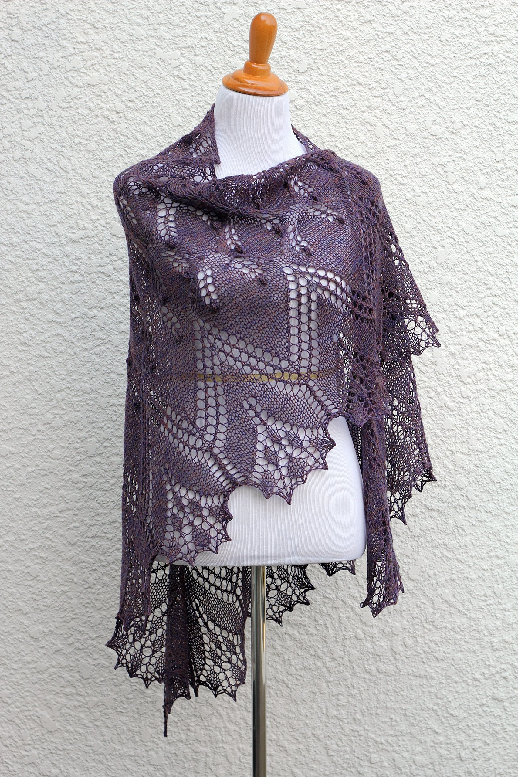 Knit shawl with nupps in red violet color, gift for her