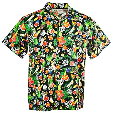 20ddda3e8 Funny Guy Mugs Mens Cat Hawaiian Print Button Down Short Sleeve Shirt, Small