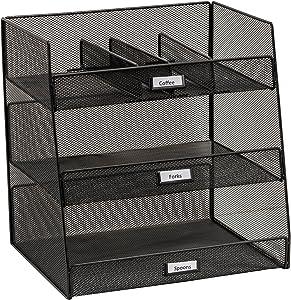Safco Products 3293BL Onyx Mesh Break Room Supplies Organizer, Black